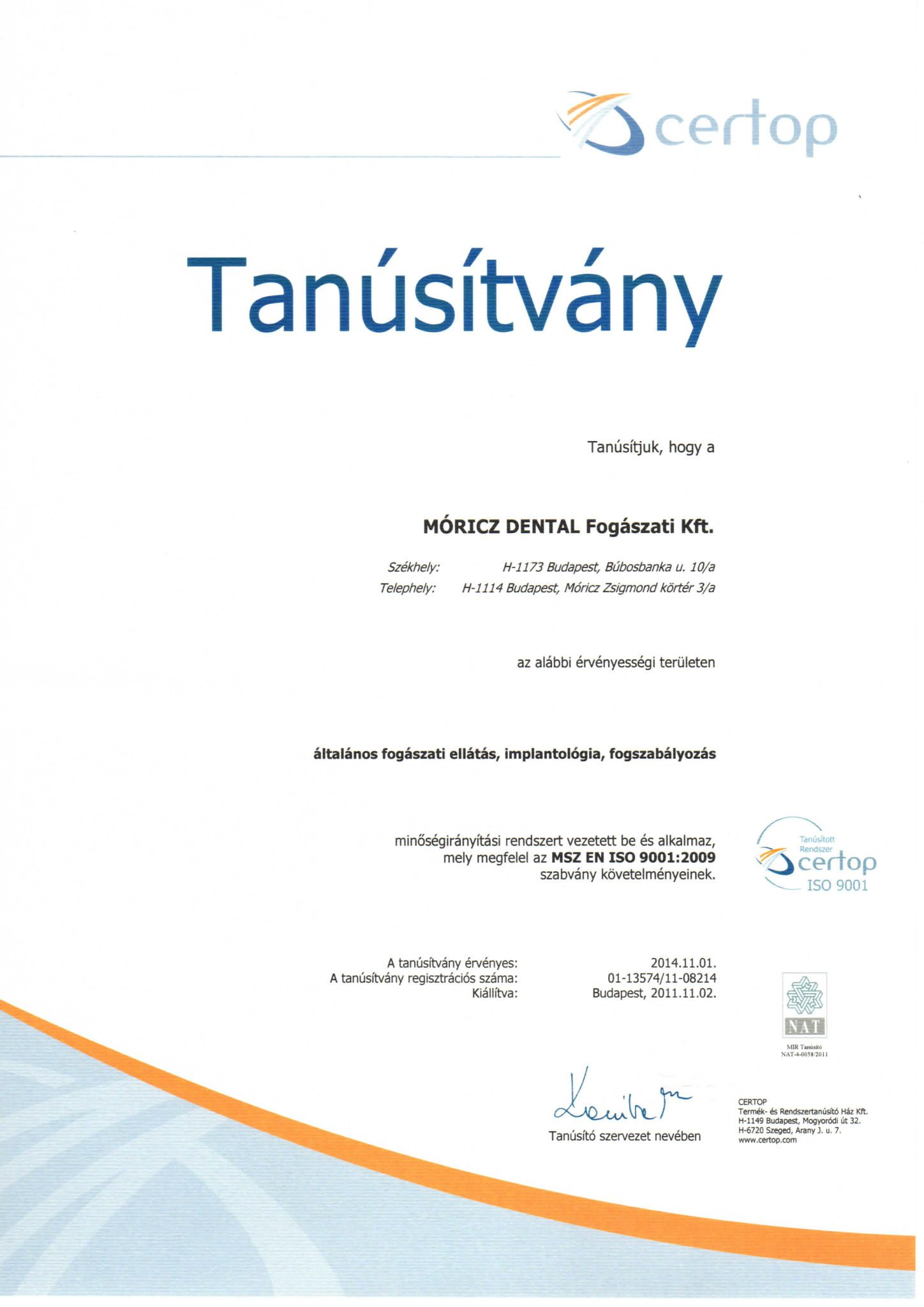Certificat ISO Centre Implant Maurice hongrie